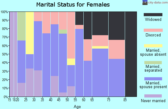 Zip code 33538 marital status for females