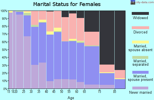 Zip code 33611 marital status for females