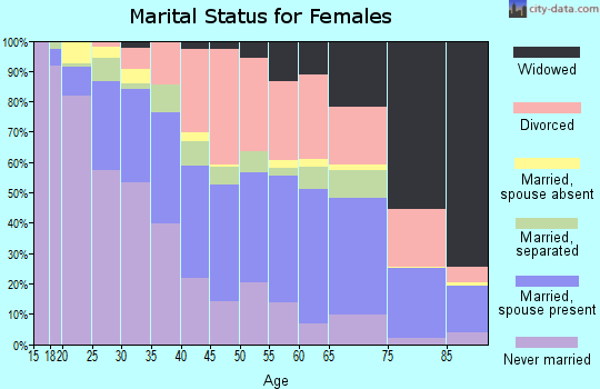 Zip code 33612 marital status for females