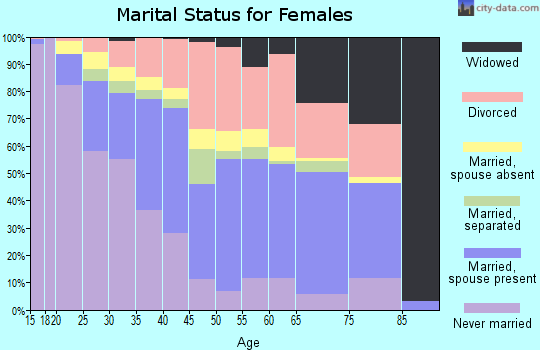 Zip code 33619 marital status for females