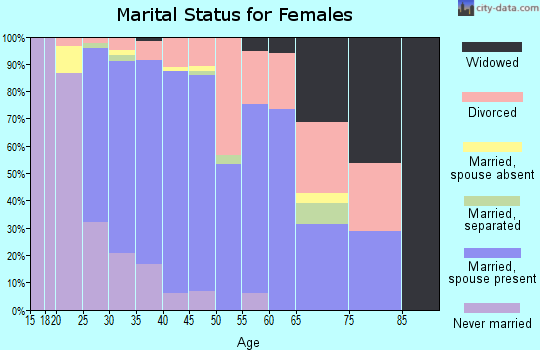 Zip code 35080 marital status for females