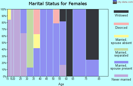 Zip code 35587 marital status for females