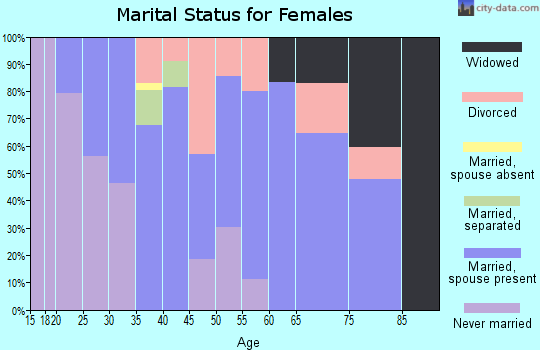 Zip code 37342 marital status for females