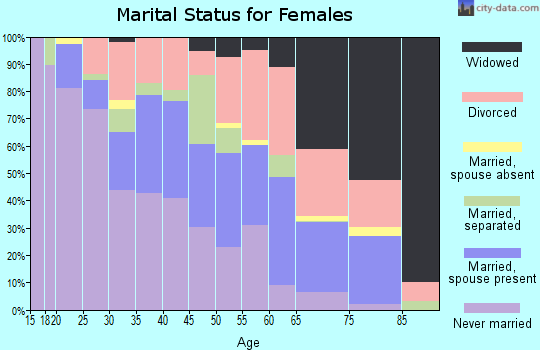 Zip code 37406 marital status for females