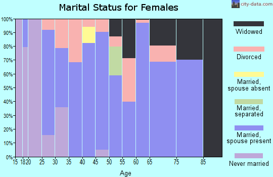 Zip code 38231 marital status for females