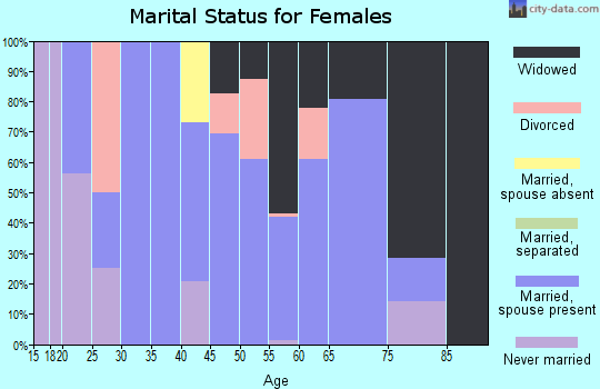 Zip code 38253 marital status for females