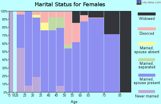 Zip code 38334 marital status for females