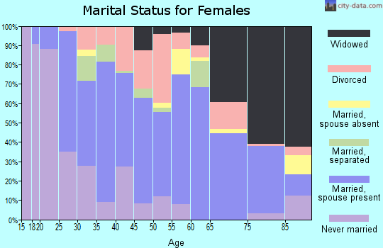 Zip code 38340 marital status for females