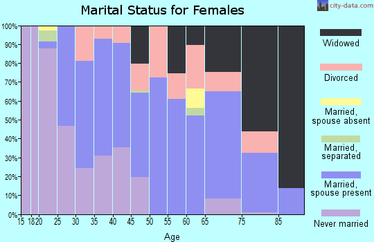 Zip code 38344 marital status for females
