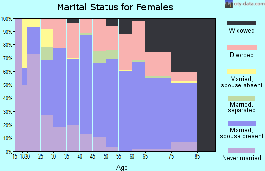 Zip code 38351 marital status for females