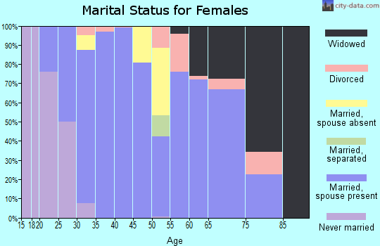Zip code 38357 marital status for females