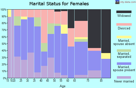 Zip code 38363 marital status for females