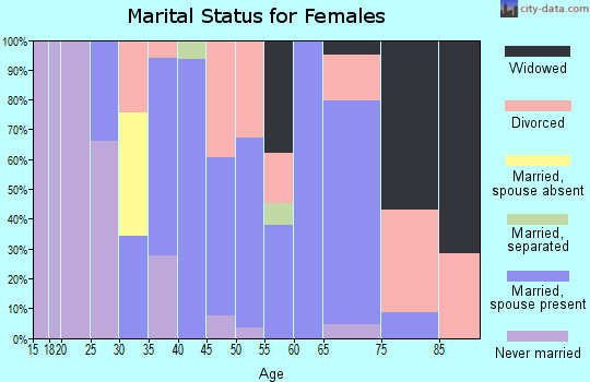 Zip code 38451 marital status for females