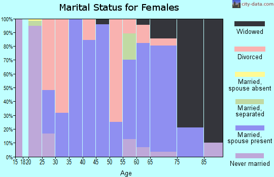 Zip code 38481 marital status for females