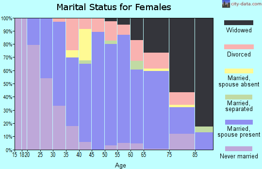 Zip code 38485 marital status for females