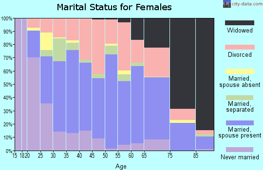 Zip code 38501 marital status for females