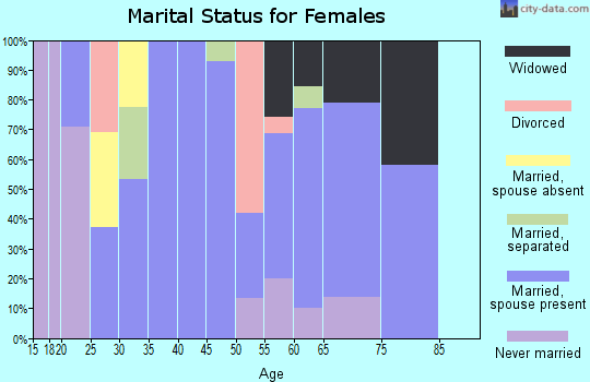Zip code 38553 marital status for females