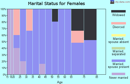 Zip code 38575 marital status for females