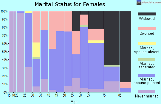 Zip code 38585 marital status for females