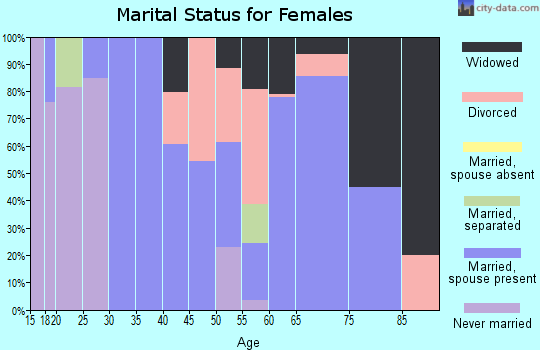Zip code 38847 marital status for females