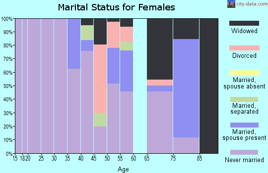 Zip code 38966 marital status for females