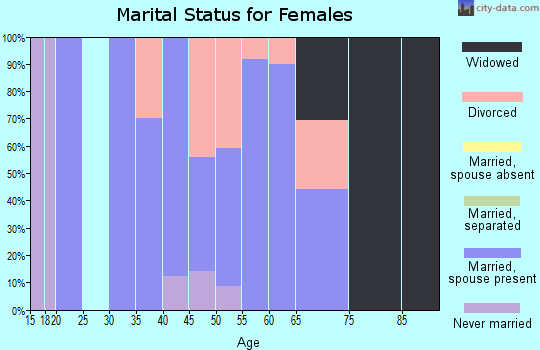 Zip code 40055 marital status for females