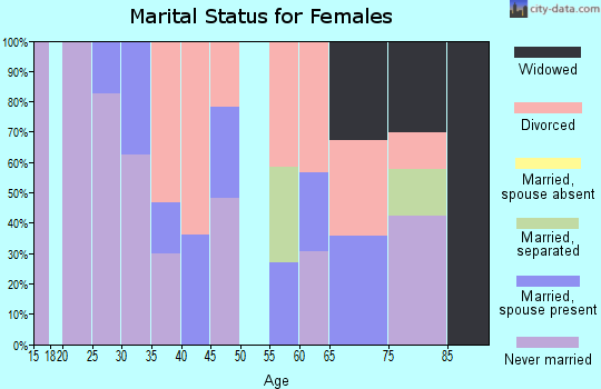 Zip code 40507 marital status for females