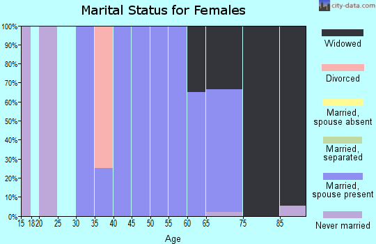 Zip code 40862 marital status for females