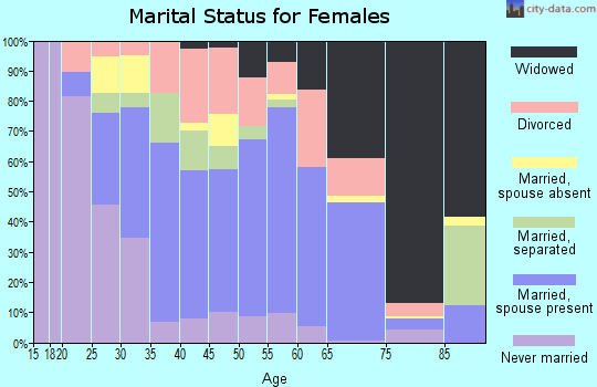 Zip code 40962 marital status for females