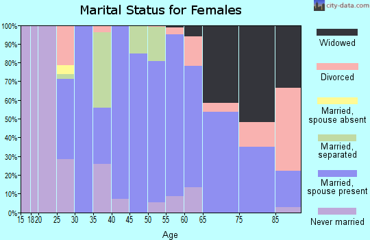 Zip code 42081 marital status for females