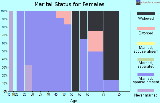 Zip code 42215 marital status for females