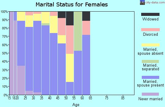 Zip code 42223 marital status for females