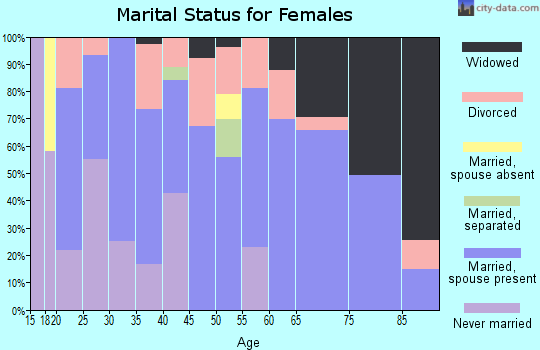 Zip code 42404 marital status for females