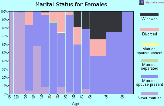 Zip code 42406 marital status for females