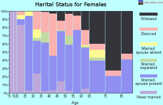 Zip code 42602 marital status for females