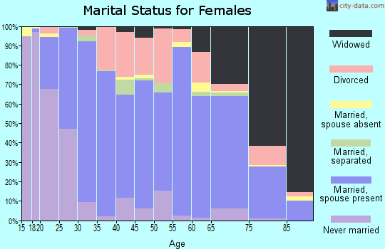 Zip code 42728 marital status for females