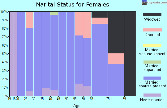 Zip code 43013 marital status for females