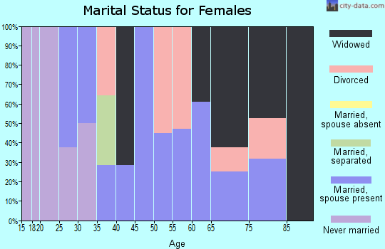 Zip code 43033 marital status for females