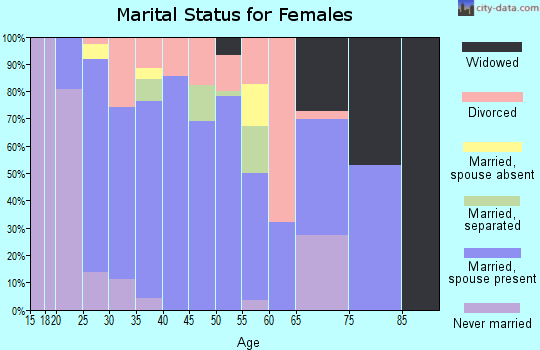 Zip code 43164 marital status for females