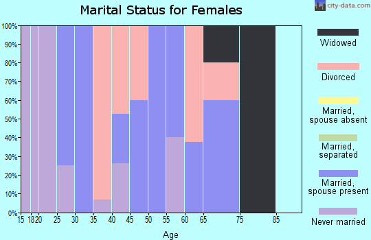 Zip code 43408 marital status for females