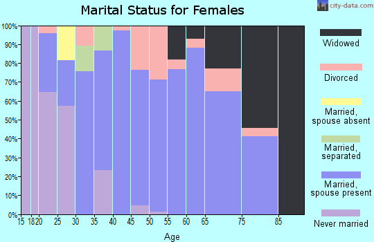 Zip code 43837 marital status for females