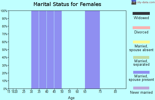 Zip code 43842 marital status for females