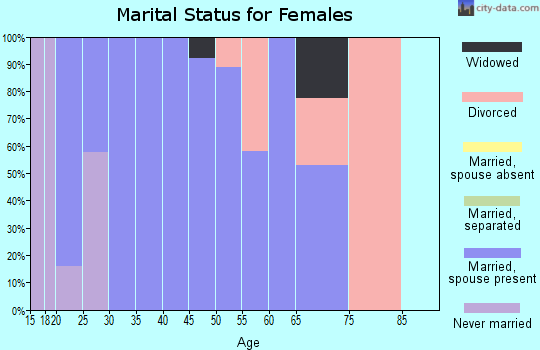 Zip code 43843 marital status for females