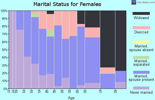 Zip code 43938 marital status for females