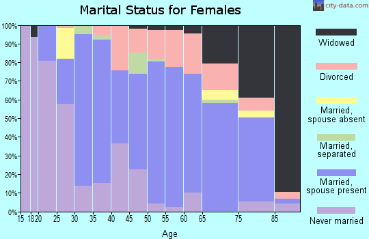 Zip code 43953 marital status for females