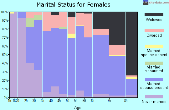 Zip code 44001 marital status for females