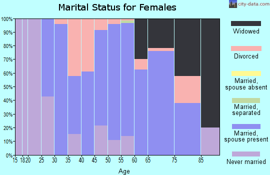 Zip code 45312 marital status for females