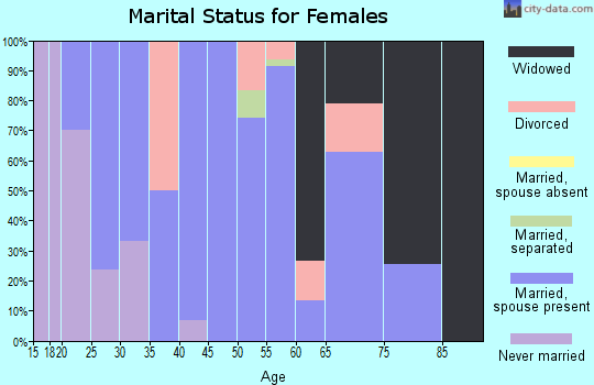 Zip code 45339 marital status for females