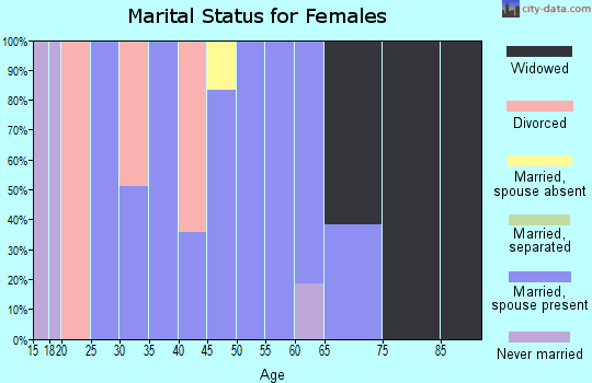 Zip code 45340 marital status for females