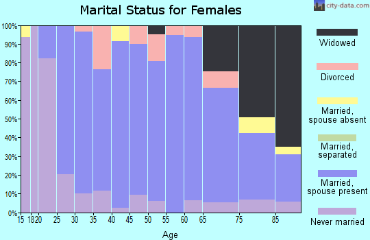Zip code 45380 marital status for females